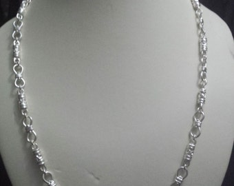 Ladies Hand Made Designer Fancy Link Sterling Silver Necklace   (ssc110)