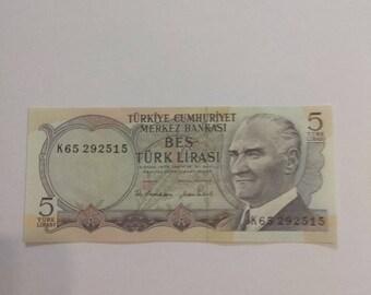 6c305346c6 Turchia dell'annata 5 Lire soldi di carta, UNC, Turchia banconote, 1970