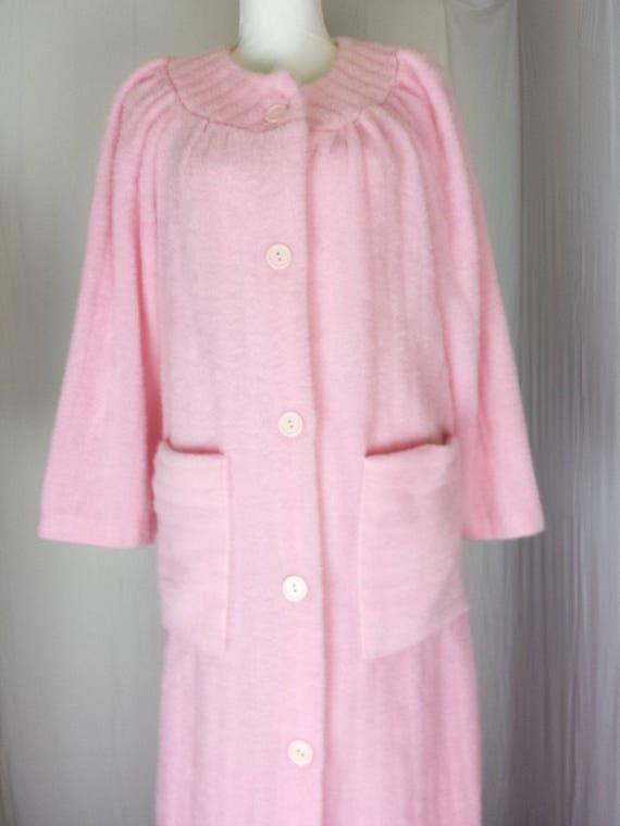 Lara Dee Womens Robe Vtg Long Button Fuzzy Plush F
