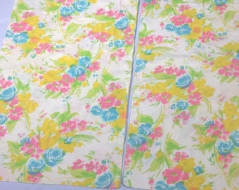 Grants Fashions for the Home pair of king sz pillowcases 42 x 46 floral flower power bright 2 blue pink yellow white muslin