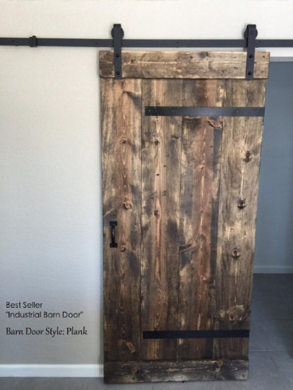 TWO Rustic Industrial Sliding Barn Doors