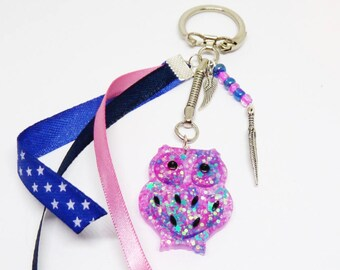 Keychain / pink and blue OWL bag charm in resin