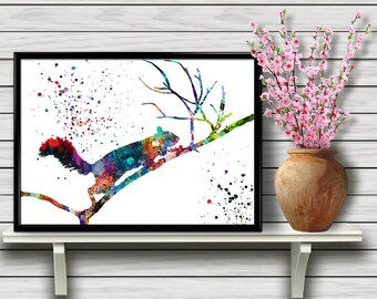 Colorful Fluffy Squirrel on a Branch, Forest life, Nature, Animal Printable Wall Art, Home Decoration, gift  Instant Download (06)