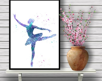 Ballerina Watercolor, Ballet Dancer, Printable Wall Art, Girl nursery decor, Home Decoration, Performing Art, gift, Instant Download