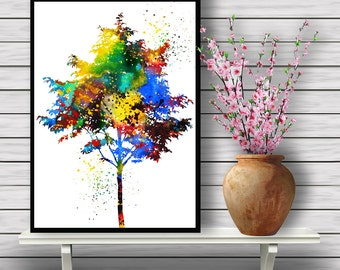 Tree Poster,Colorful Plant, watercolor print, Nature, Flora, watercolor illustration, art poster, Wall art, gift  Instant Download