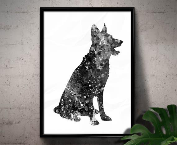 Wall Art Home Decor Gift Pet Dog Animal ART PRINT German Shepherd illustration