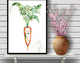 Carrot, Kitchen Ingredient, Colorful Plant, watercolor print, Nature, Flora, watercolor illustration,gift, print(05)