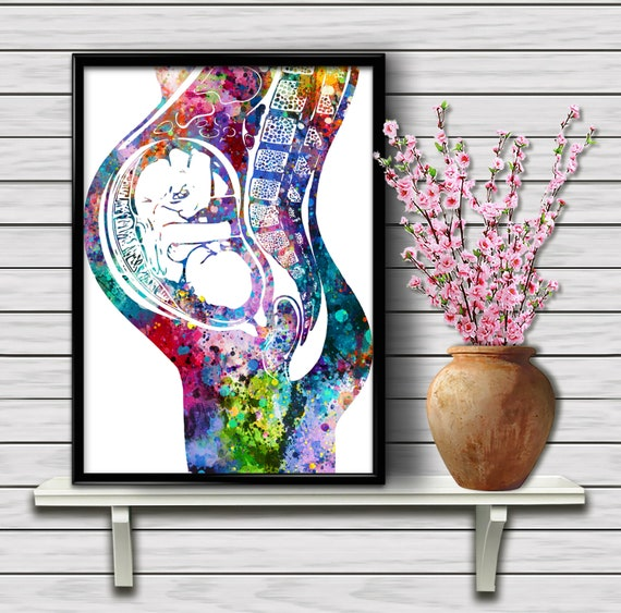 Sperms and Egg Watercolor Print Uterus Fertility Gynecology Medical Art Print