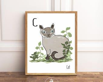C is for Cat, Instant Download, nursery art, Classroom Art, Kids room art, printable poster
