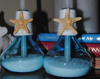 Pair of Nautical Candle Holders with White Taper Candles