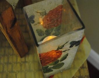 Decoupaged Glass Candle Holder with Botanical Imagery