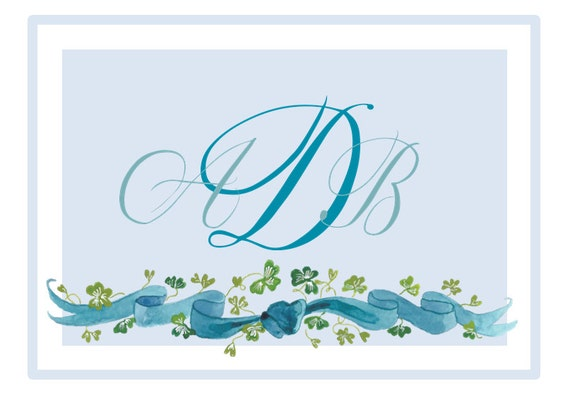 Blue Ribbon Printable Monogrammed Note Cards