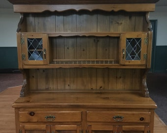 Large Two-piece Pine Hutch