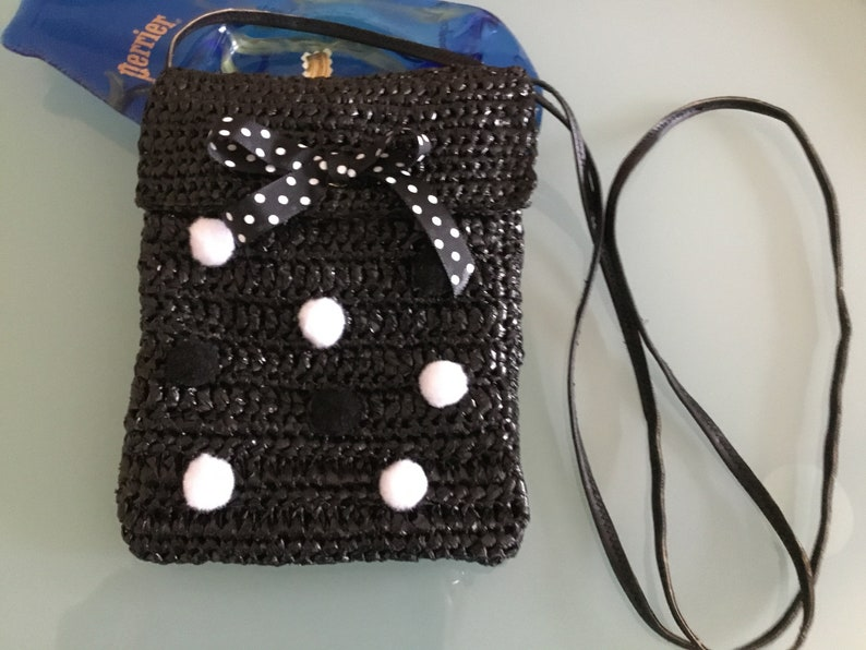 Upcycling Black-card multi-card holder with white peas Single bag pockethooked and hand-crafted
