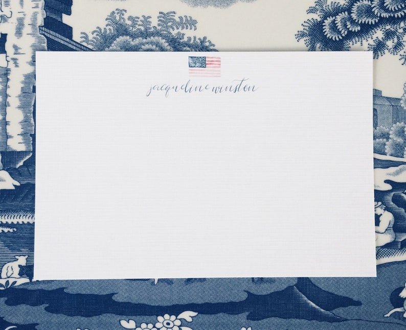 4x6 or 5x7 Flat Cards with Envelope. Custom Watercolor American Flag on White Linen Stationery with Navy Blue Lettering