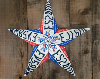 License Plate Barn Star (Ohio Red/White/Blue)