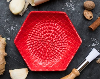 Red- The Grate Plate Ceramic Grater 3 Piece set: Ceramic Grating Plate, Silicone Garlic Peeler and Wooden Handle Gathering Brush