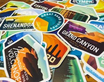 National Park Sticker Pack | Mix & Match 8, 10, 15, 20, 25, 30, 38 Stickers