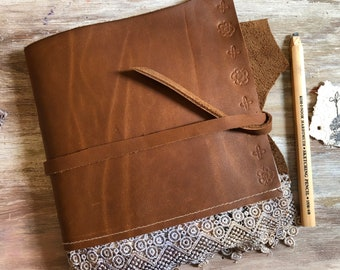 Leather journal. Neutral color junk journal. Leather and lace keepsake book with mixed paper. Rustic brown leather journal with bookmark.