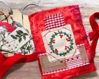 Small Christmas junk journal. Handmade journal. Embroidered book. December scrapbook. Christmas gift idea, tags and embellishment