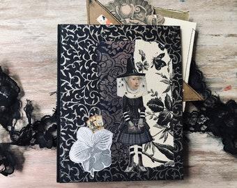 Halloween junk journal. Grimoire spellbook, book of shadows journal. Magic black book. Predominately black sheets, cards, goodies gift.