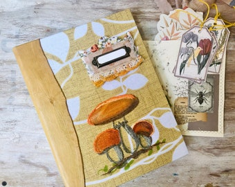 Autumn junk journal handmade for sale. Leather journal personalized. Mushroom embroidery, autumn decor book, with ephemera kits, cards gift