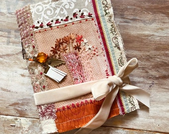 Boho junk journal handmade. Autumn journal for sale, soft cover, botanic art journal.  Embroidery fabric. Orange and brown. Gypsy journal.
