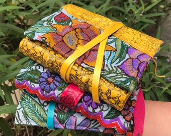 Embroidered leather journal. Mexican flowers, handmade book, 365 pages, 2022. Mexican notebook, journals and notebooks. Bohemian journal.
