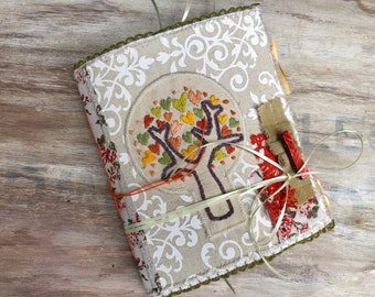 Small junk journal. Handmade notebook for sale. Embroidered tree of life. Soft cover. Gratitude journal. Art journal, small spiritual diary