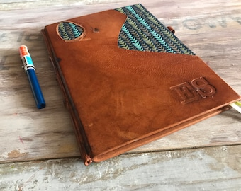 Leather book, leather bound journal personalized for woman. Leather and paper, hard cover. Rustic notebook. A5 notebook classic binding book