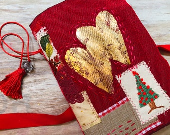 Christmas journal. Handmade junk journal with gold hearts. Embroidered book. December scrapbook. Christmas gift idea, tags and embellishment