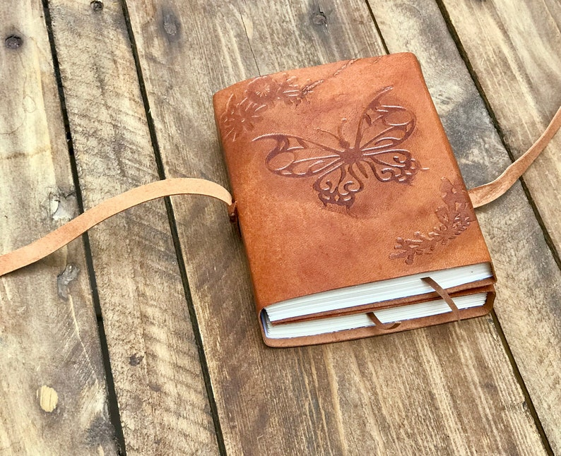 Leather journal for woman butterfly journal double leather image 0