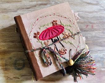 Mushroom journal. Handmade junk journal, autumn book, botanical notebook. Mushroom embroidery. Hard cover, leather diary. Coffee table decor