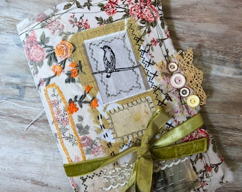 Birds junk journal. Bird themed, handmade, soft cover diary. Bundle of embellishments and cards. Textile art journal. Slow stitch embroidery
