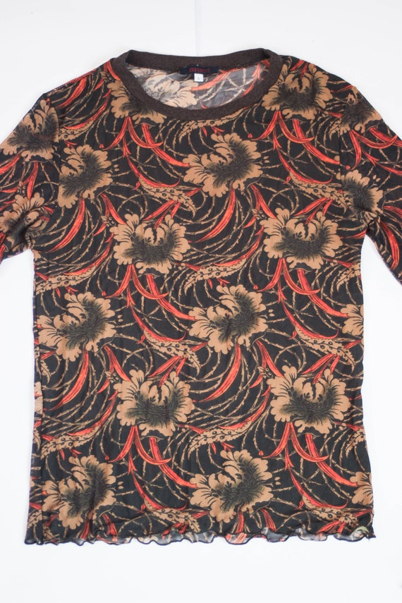 90s Kenzo floral mesh top art print stretch tulle… - image 2
