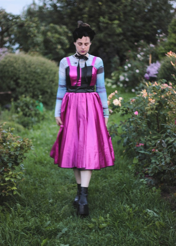 80s pink and black satin dress striped bustier dr… - image 9