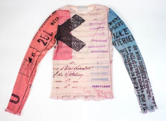 90s sheer mesh top abstract print mesh top handwri