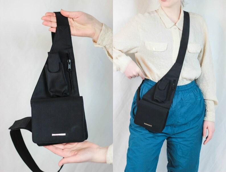 ffd23a9fb 90s Cross Body Bag Fanny Pack Bag Black Waist Bag With Phone Case Trendy  Body Bag Side Bag One Shoulder Bag Black Belly Bag