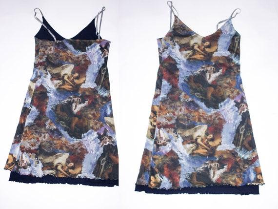Vintage Y2K 90s  angel print mesh dress sheer mesh