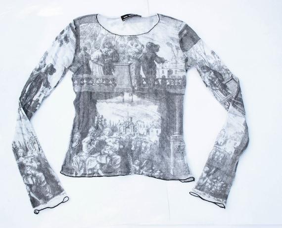 90s mesh top baroque painting print art print top
