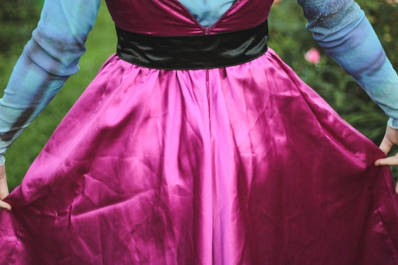 80s pink and black satin dress striped bustier dr… - image 7