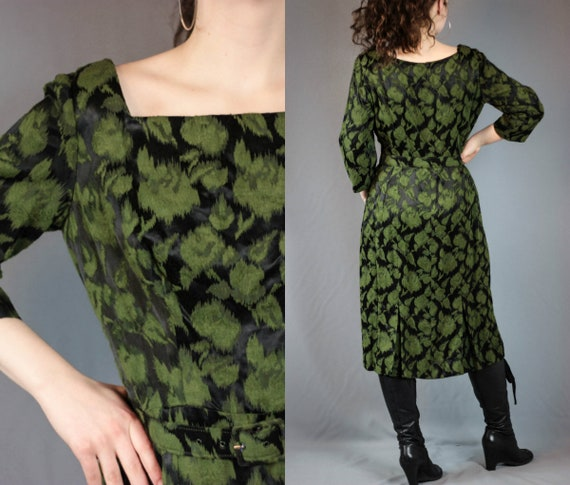 50s 60s Green Leaf Dress Black Green Jacquard Dres