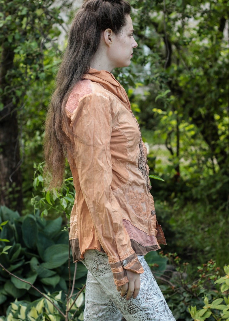 Vintage boho hippie style cotton blouse tea dyed  top earthy dusty orange brown top gypsy style top nomad blouse