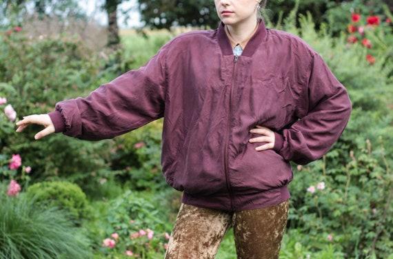 90s  burgundy silk bomber jacket muted plum red b… - image 4