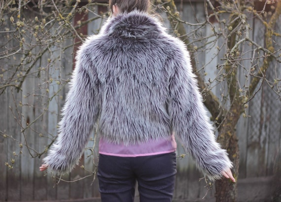 Vintage faux fur jacket fluffy fur coat purple gra