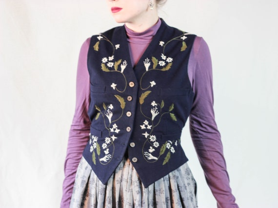 PLEIN SUD embroidered floral wool vest navy blue f