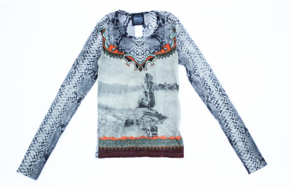 90s Kenzo abstract mesh top art print stretch tull