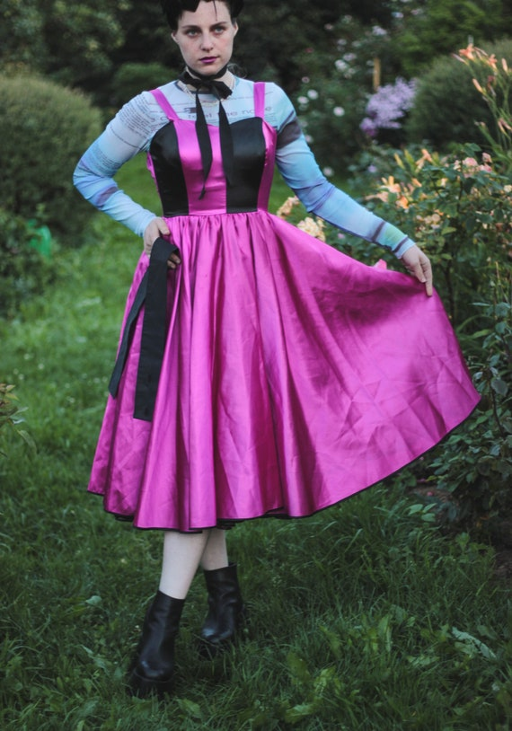 80s pink and black satin dress striped bustier dr… - image 6