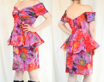 80s Tadashi Dress Floral Peplum Dress USA Designer Vintage Peplum Dress Statement Off The Shoulder Elegant Dress
