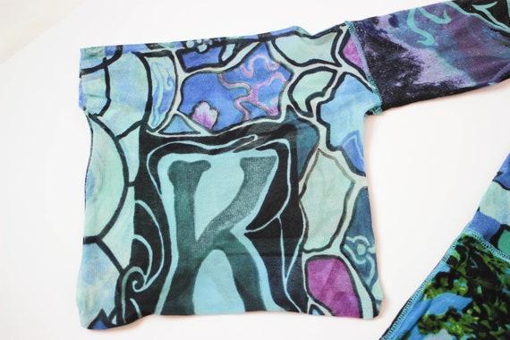 90s Kenzo mesh top kimono sleeve stretch tulle to… - image 6